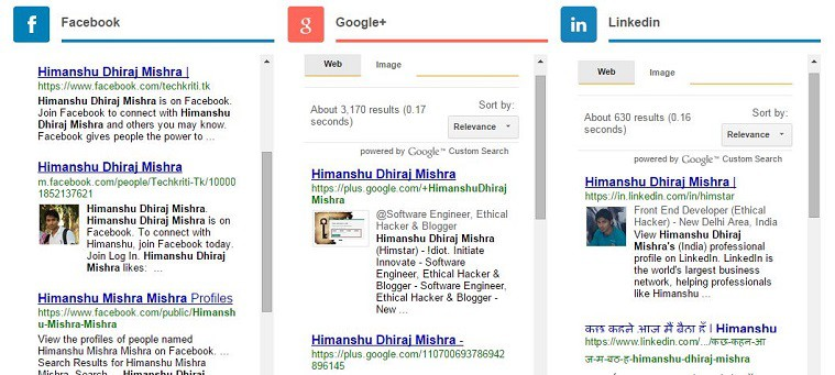 Find someone all social detail in single search