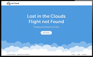 404 error page Lost in Cloud responsive html template
