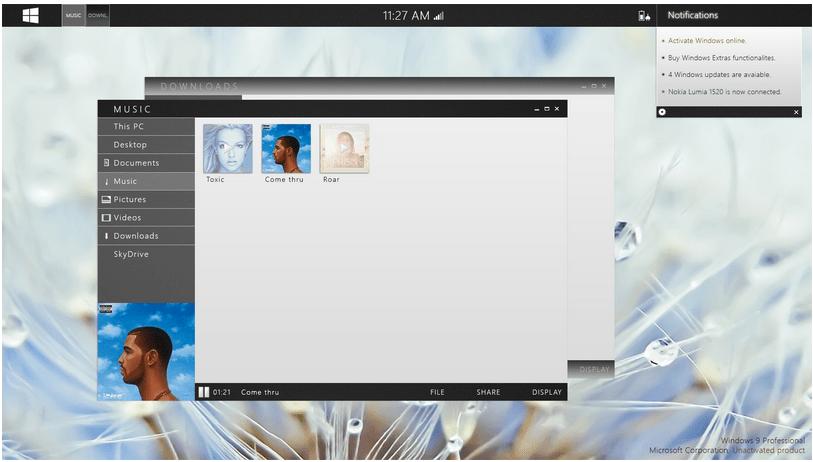 Windows 9 Design Start Menu and Taskbar at the Top of the Screen