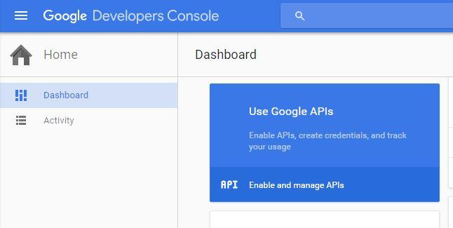 Create google developer API