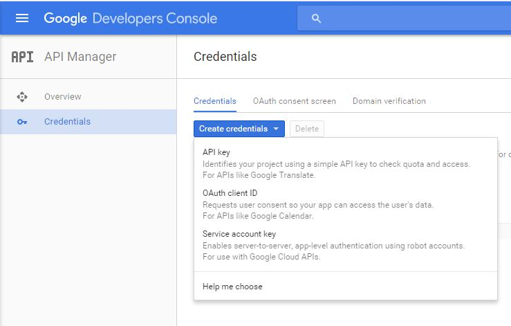 google developer console create API