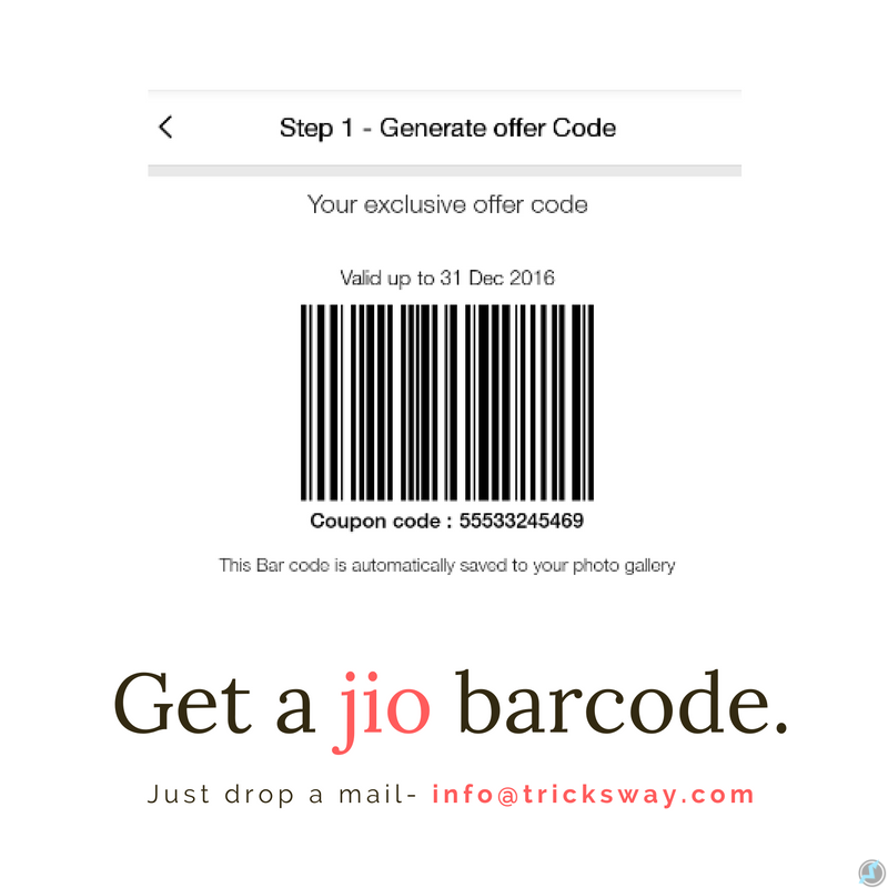 Get free Jio bar code