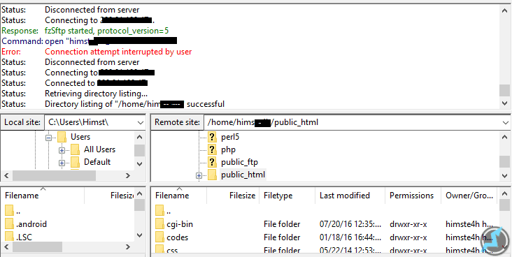 ftp connection using mobile hotspot
